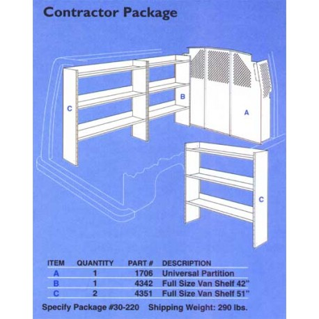 CONTRACTOR SHELVING PKG. - FULL SIZE VAN