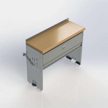 "Ranger Design Workbench, aluminum w/hardwood top, 1 shelf w/door, 18\\""d x 48\\""w x 36\\""h"