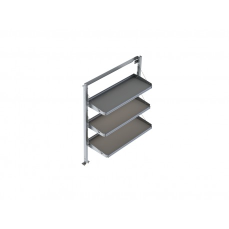 "Ranger Design Fold-Away Van Shelving Unit with 3 levels, Aluminum, 21\\""d x 55\\""w x 72\\""h"